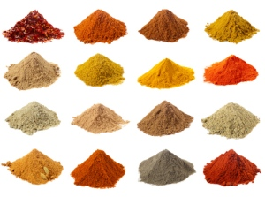 sixteen piles of Indian powder spices with its names